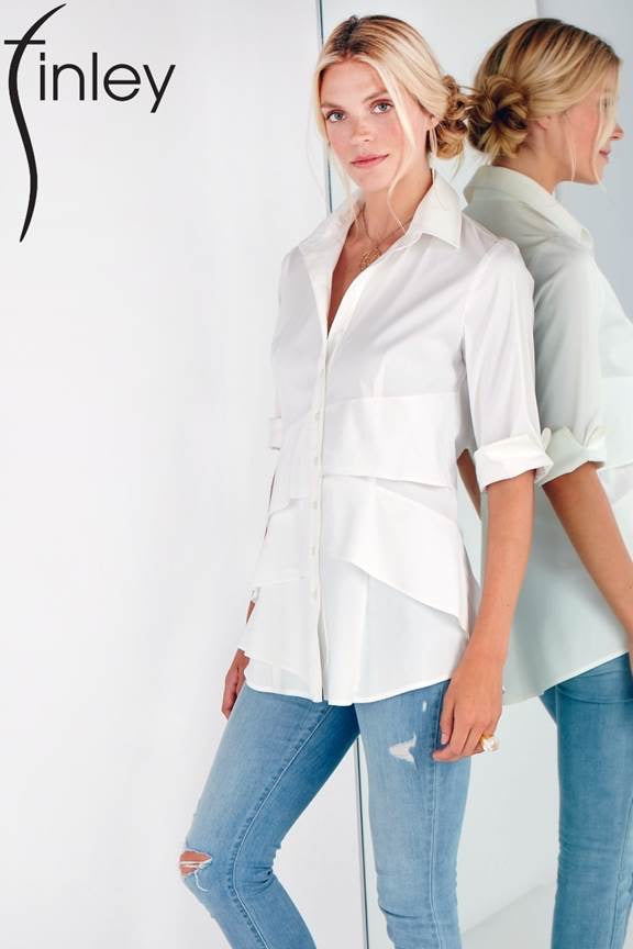 3/4 sleeve Jenna Shirt in White by Finley Shirts