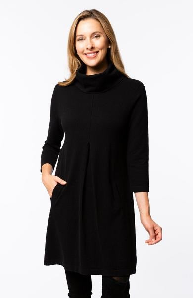 Kim Cowl Cotton Cashmere Dress in Black by Tyler Boe