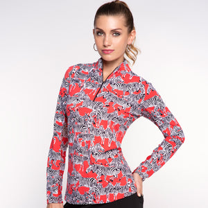 Long Sleeve Zip Mock Neck Top in Gino Red by IBKUL