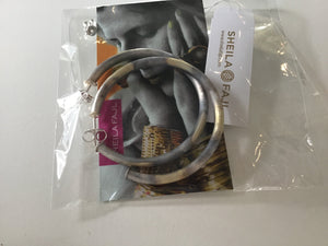 BR1954BANTS SILVER BURNISHED Smaller EVERYBODYS FAVOTITE HOOPS BY SHEILA FAJL