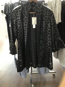 Rita Jacket with Ruffle in Black Chloe by Connie Roberson