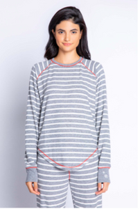 Joyful Stripe Pajama Top in Grey by PJ Salvage