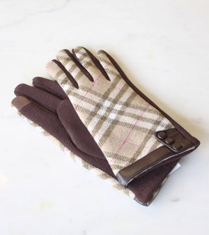 Elgin Texting glove in tan plaid by Royal Standards