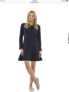 Long Sleeve Navy Dress with tan trim Sail to Sable