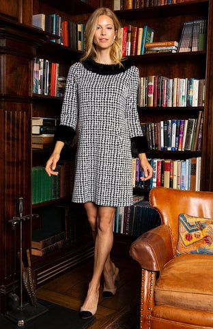 Chelsea dress in Blabk and white houndstooth by Tyler Boe