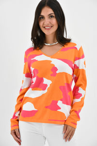 V Neck Sweater in Pink and Orange Animal Camo by Edinburgh Knitwear