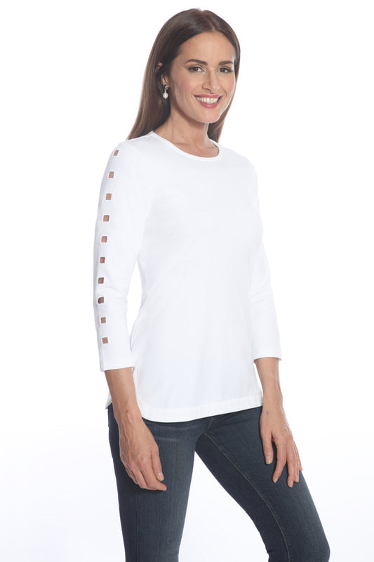 White Tee Shirt with cut out detail on sleeves by ELI for J'envie