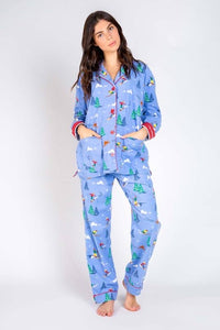 Skier Pajama Set in Blue Flannel by PJ Salvage