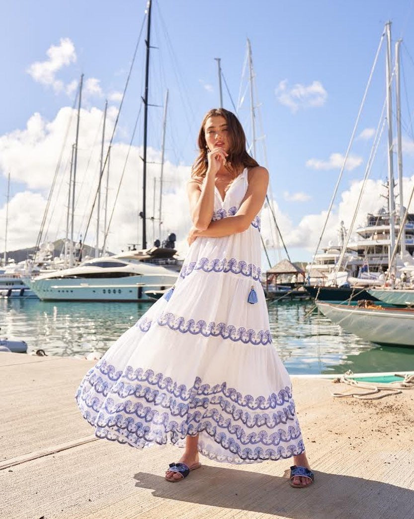Holland Blue Long Tiered Tassel Dress by Oliphant