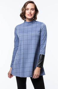Crissy Jacquard Tunic in Blue Windowpane by Tyler Boe