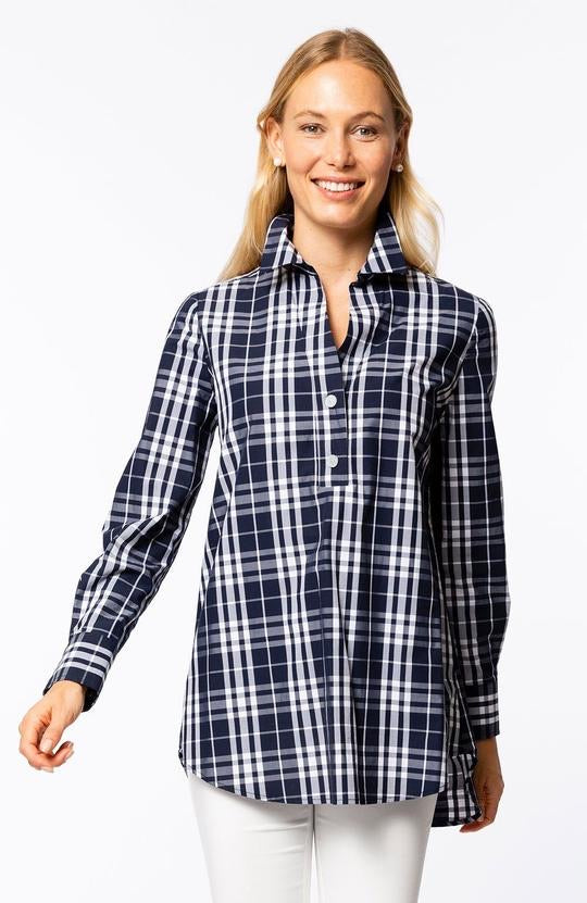Teri Palmer Plaid Tunic in Navy/white by Tyler Boe