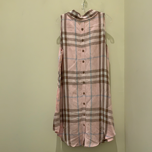 Button Back Dress in Pink Plaid by Boho Chic