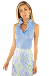 Sleeveless Ruff Neck Jersey Blouse in Periwinkle by Gretchen Scott