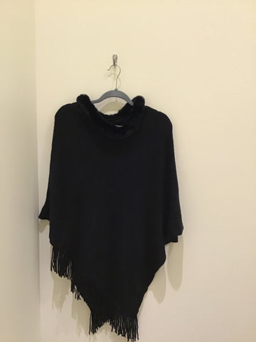 Faux Fur trim Poncho in Black by Designer House