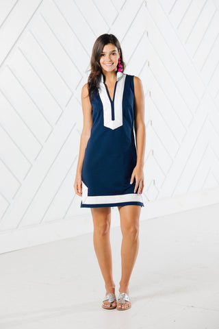 SLEEVELESS CLASSIC TUNIC in Navy/ Whiite by Sail to Sable