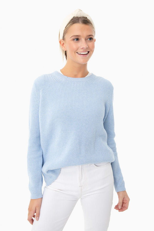 Emma Shaker Sweater in water Blue Melange by 525 America
