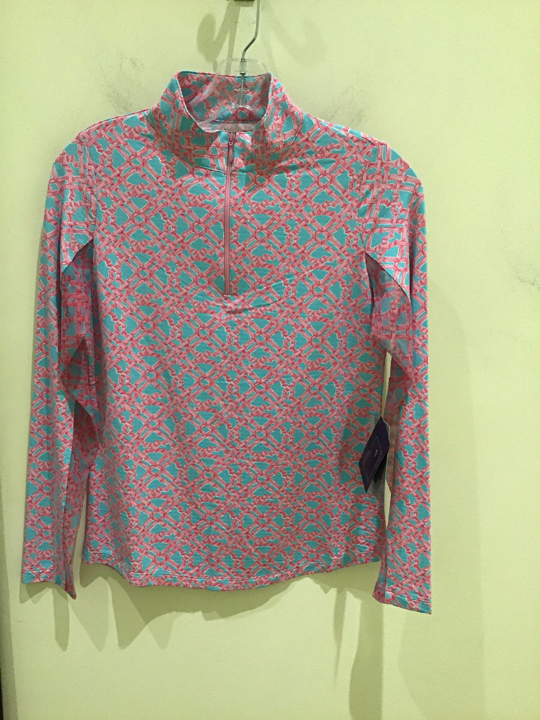 Long sleeved zip Mock Neck in Bali Seafoam/Pink