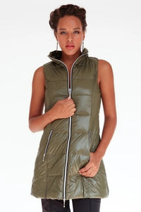 Long Down Puffer Vest in Olive Green by My Anorak