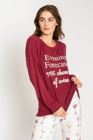 Evening Forecast 99% Chance of Wine Tee Shirt in Merlot by PJ Salvage