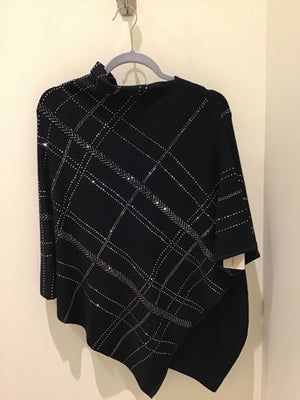 Embellished Plaid Poncho in Black by La Fiorentina