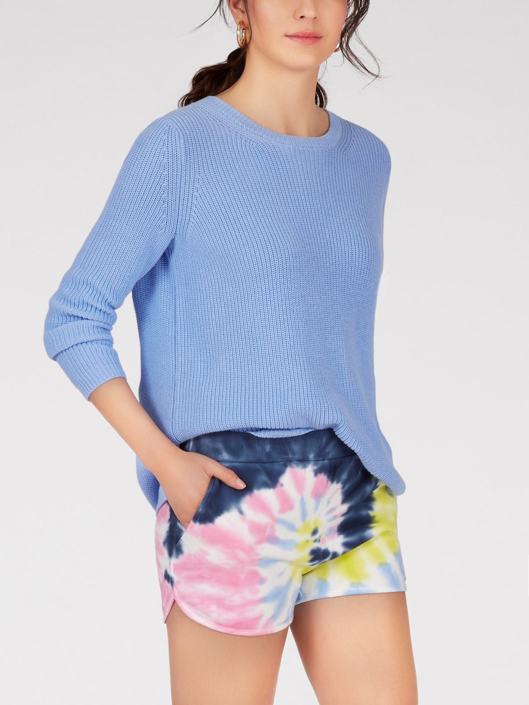 Emma Cotton Shaker Sweater in Periwinkle by 525 America