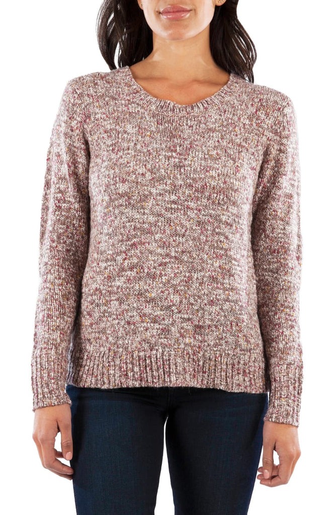 Lorissa Marled Crewneck Sweater in Heather Mauve by Kut