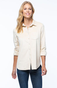 Patti Faux Suede Polo Shirt in Buff by Tyler Boe