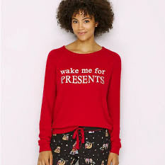 Wake Me for Presents Tee shirt in Red by PJ Salvage