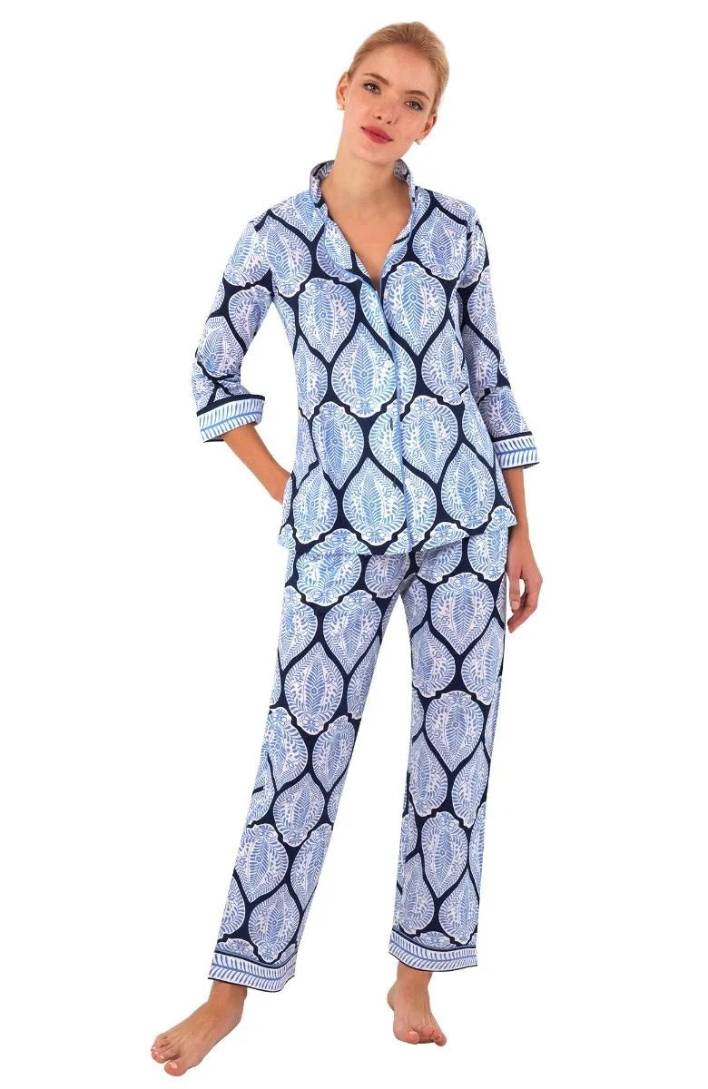 Pajama set in Blue Indian Summer by Gretchen Scott