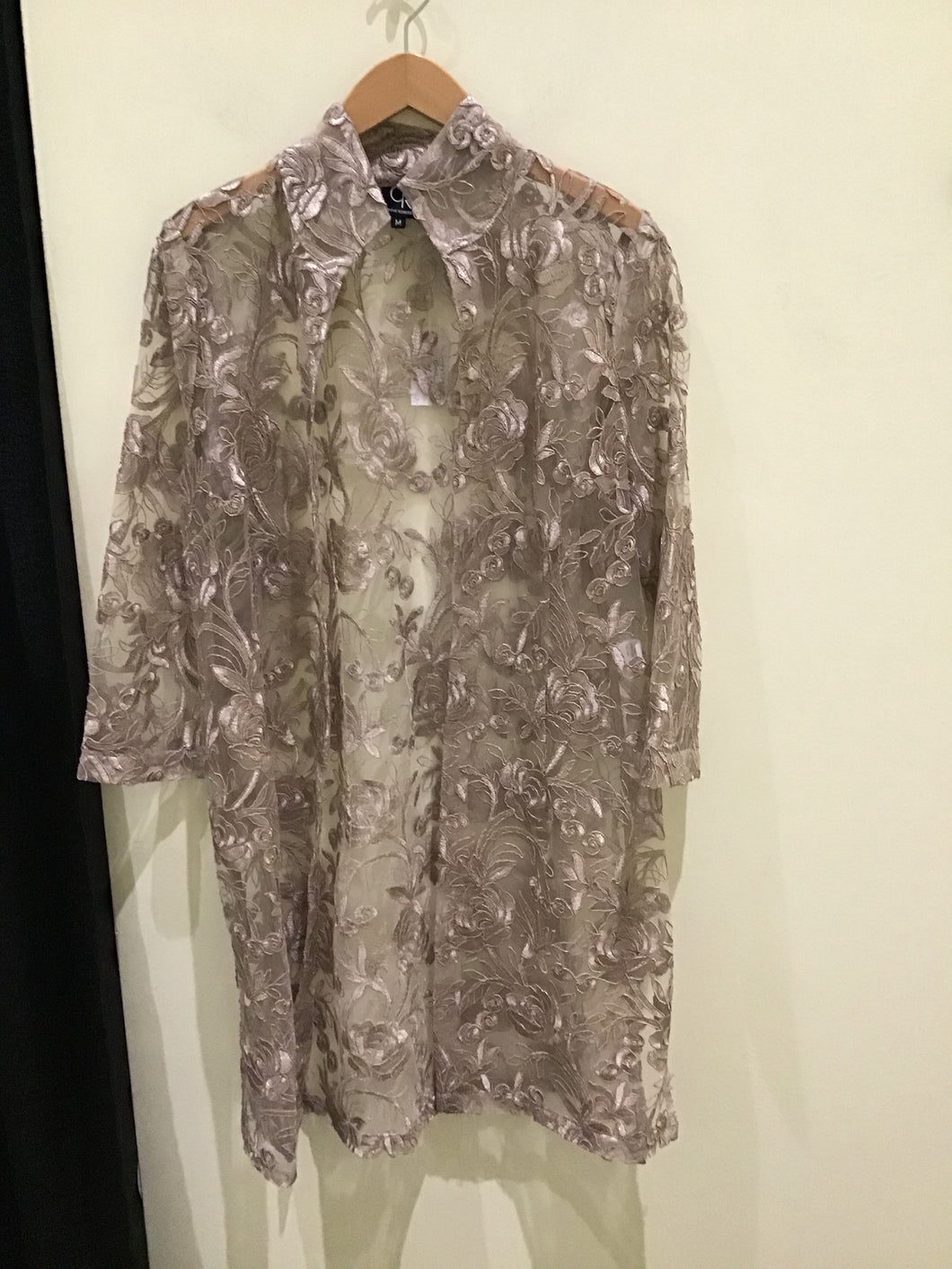 Rona Taupe sheer Rose Jacket by Connie Roberson