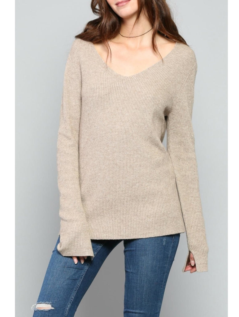 Cashmere Vneck Pullover in Camel by Fate by LFD