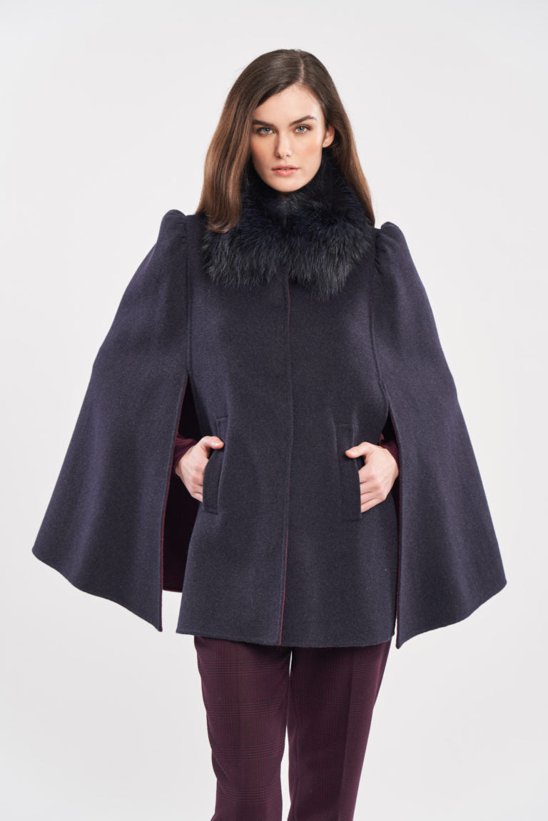 Double Face Woolen Cape in Denim with Removable Fox Collar