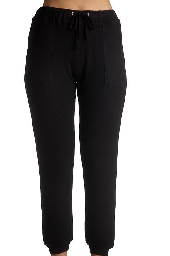 Super soft Drawstring Jogger Pant in Black by French Kyss