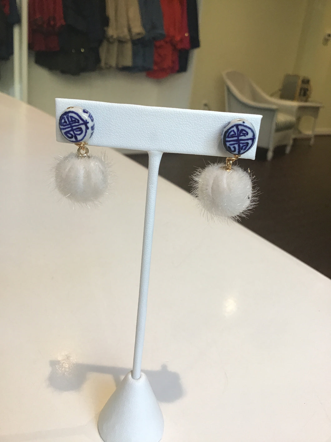 chinoiserie with fur pom  earring by Julie Ryan #12
