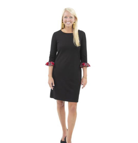 Dockside Dress in Solid Black with red  plaid sleeve trim