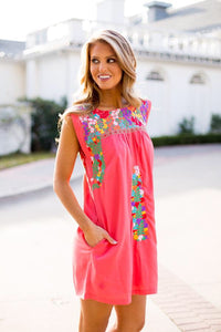 Sofia Multi Embroidery Dress in Coral by J. Marie
