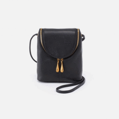 Leather 'Fern' Crossbody Bag in Black by Hobo Bags