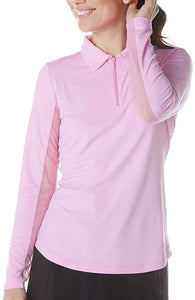 Long Sleeve Zip Mock Neck in Candy Pink by IBKUL
