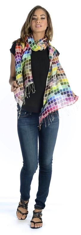 Silk Scarf in Bright Tiles By Tolani Scarves
