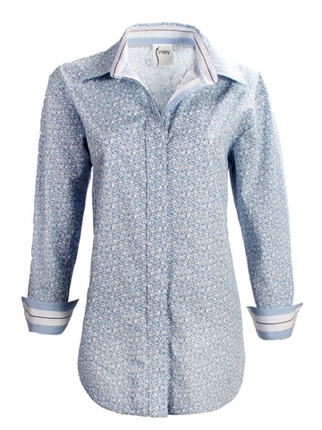 Boyfriend Shirt in Little Leaves Print in Blue  by Finley