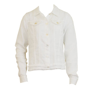 Linen Jacket in White by Pure Amici