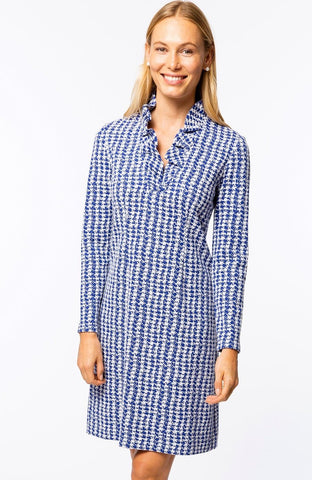 Constance Dress in Etched Houndstooth Blue by Tyer Boe