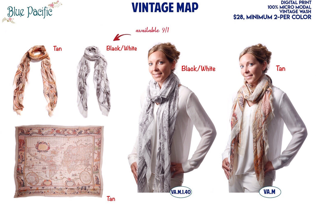 Vintage Map Scarf by Blue Pacific Scarves