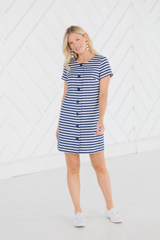 STRIPE JACQUARD BUTTON FRONT DRESS in navy/ white by Sail to Sable