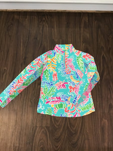 Long sleeve mock neck 1/4 zip top in Nessa sea foam by IBKUL