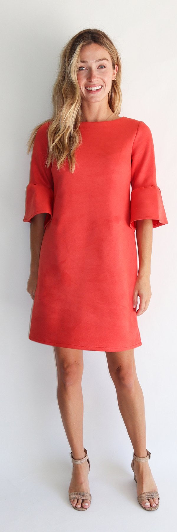 Faux Suede Shelby Dress in Tangerine by Jude Connally