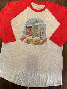 Holiday Snowglobe on red Raglan tshirt by Southern Apparel