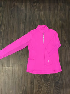 Long sleeve mock neck in Hot Pink by IBKUL