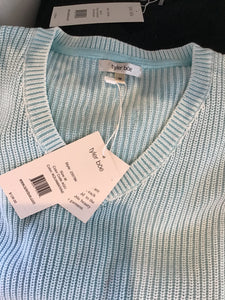 Cotton Mineral Washed Zipper Sweater in Aquamarine by Tyler Boe