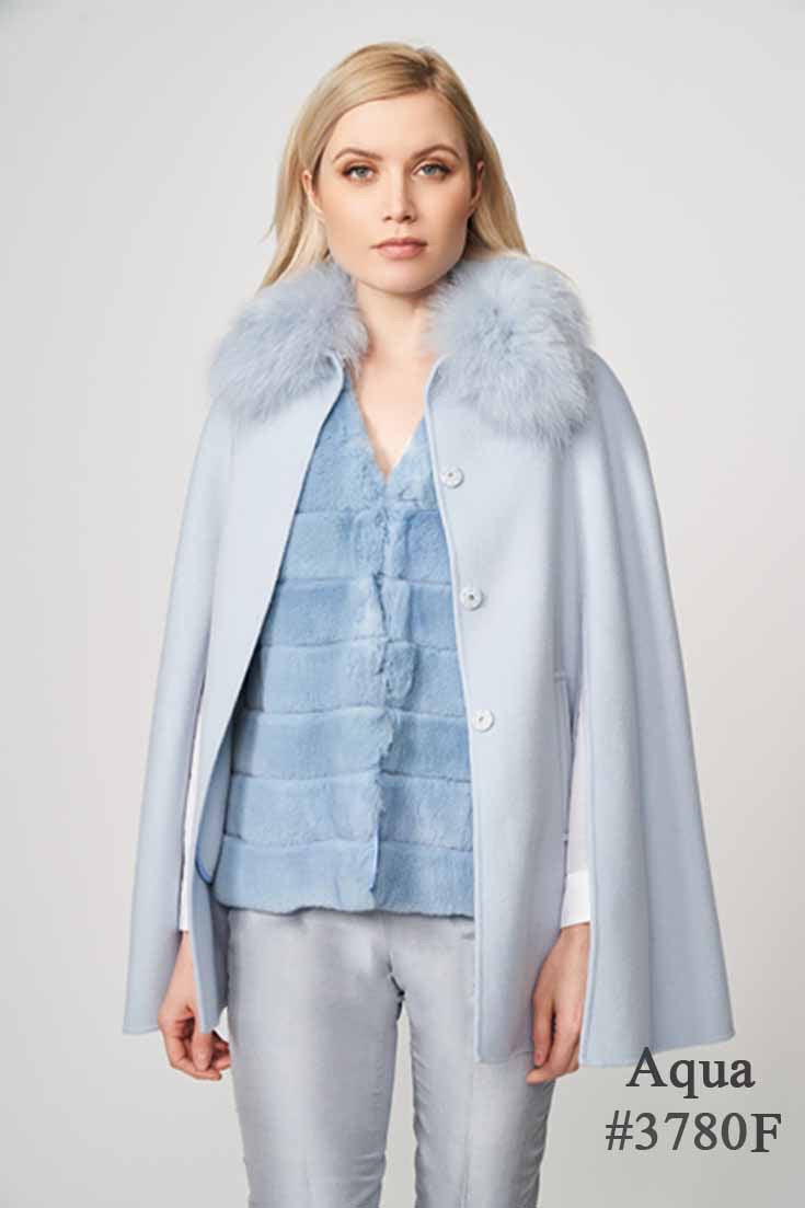 Double Faced Woolen Cape with Fox in Baby Blue by Diomi one size